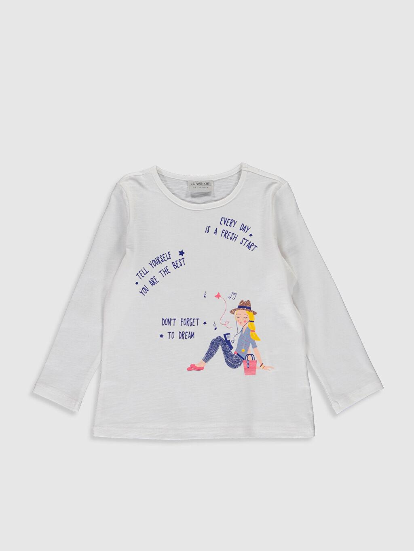 Ekru Kız Çocuk Baskılı Pamuklu Tişört 0S5544Z4 LC Waikiki