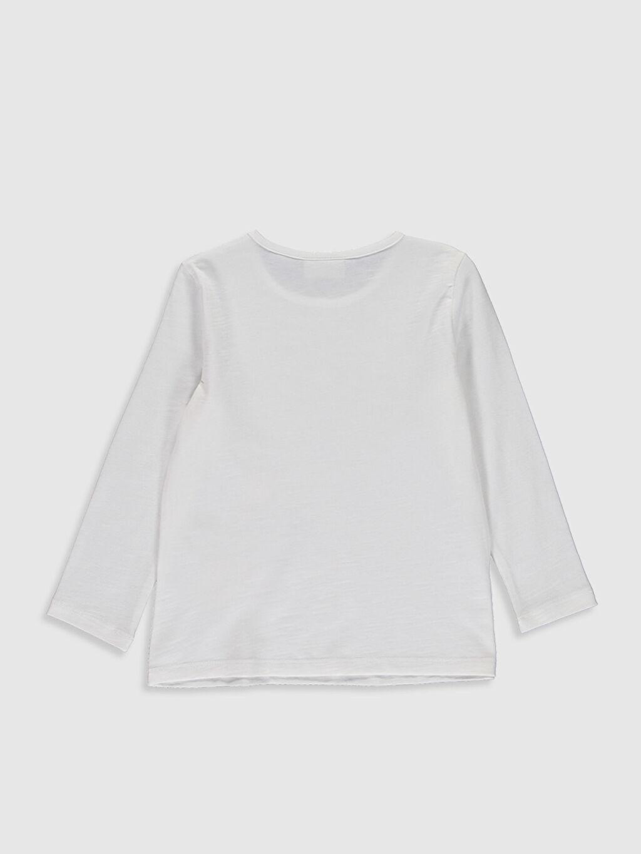 %100 Pamuk Standart Baskılı Tişört Bisiklet Yaka Uzun Kol Kız Çocuk Baskılı Pamuklu Tişört