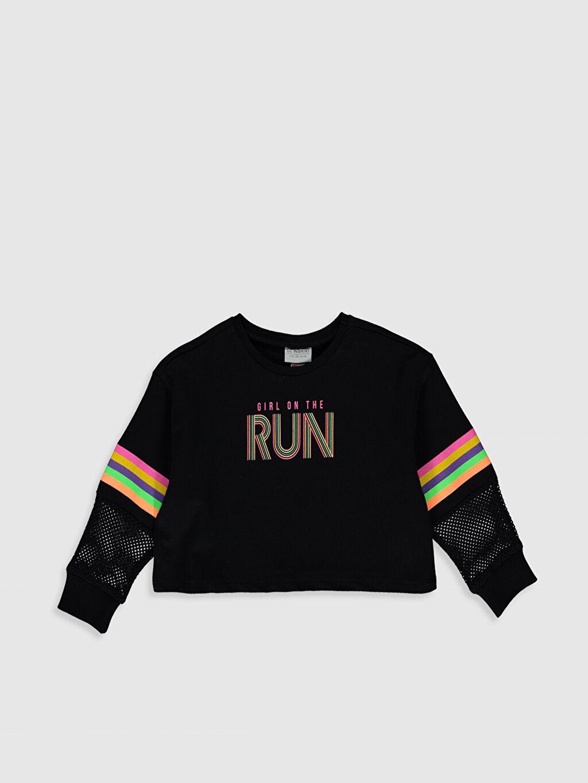 Siyah Kız Çocuk Baskılı Sweatshirt 0S5724Z4 LC Waikiki