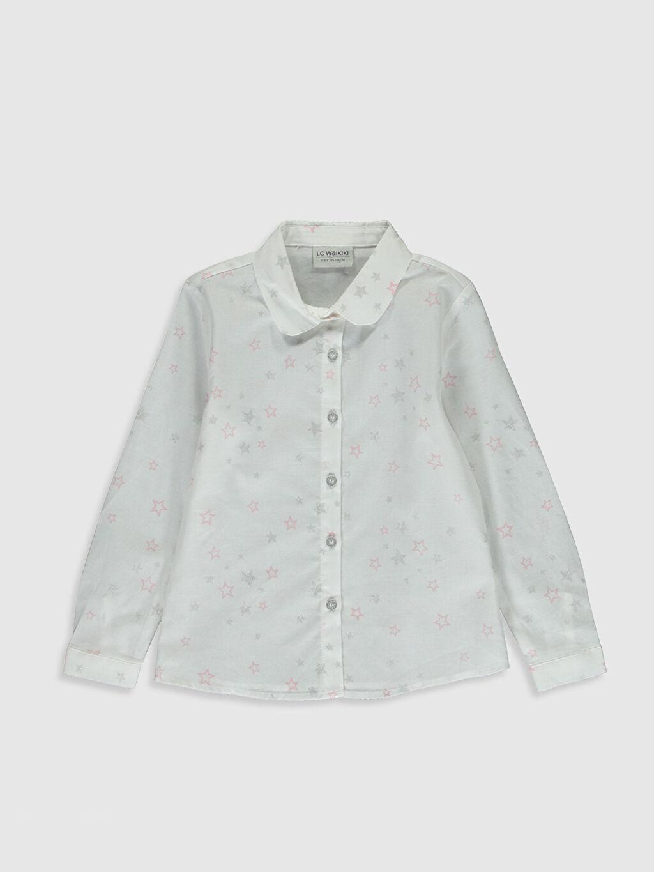 Beyaz Kız Çocuk Baskılı Poplin Gömlek 0S5760Z4 LC Waikiki