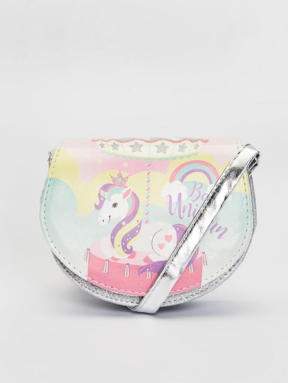 Gri Kız Çocuk Unicorn Baskılı Simli Omuz Çantası 0S6028Z4 LC Waikiki