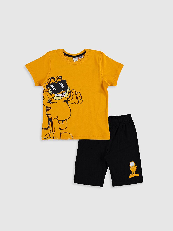 Turuncu Erkek Çocuk Baskılı Pamuklu Pijama Takımı 0S6044Z4 LC Waikiki
