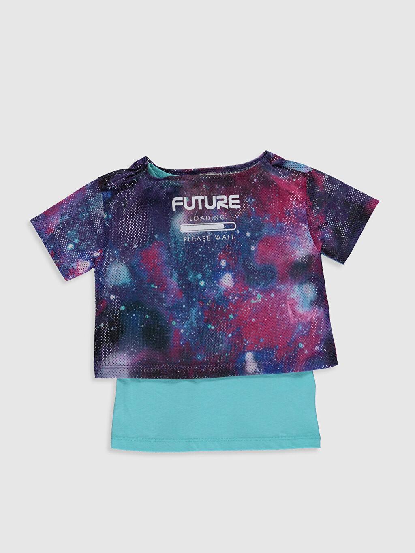 Çok Renkli Kız Çocuk Baskılı Tişört ve Atlet 0S6070Z4 LC Waikiki