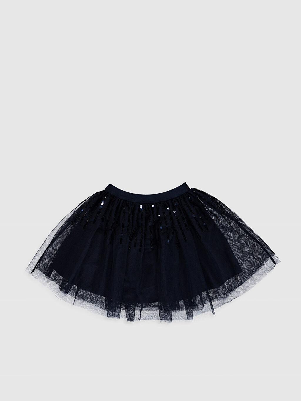%100 Polyester %100 Polyester Diz Üstü Düz Kız Çocuk Pul İşlemeli Tüllü Etek