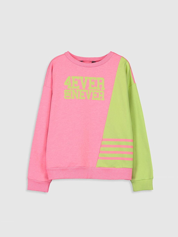 Pembe Kız Çocuk Slogan Baskılı Sweatshirt 0S6185Z4 LC Waikiki