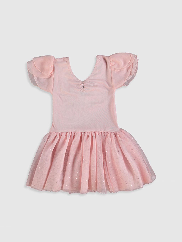 %90 Polyester %10 Elastan %100 Polyester Diz Üstü Düz Kız Çocuk Tütü Elbise