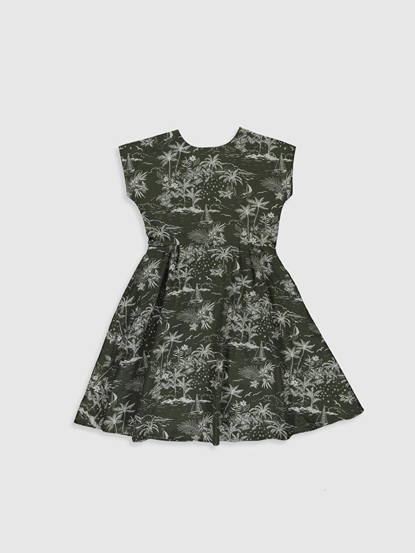 %100 Pamuk Diz Üstü Desenli Kız Çocuk Desenli Elbise