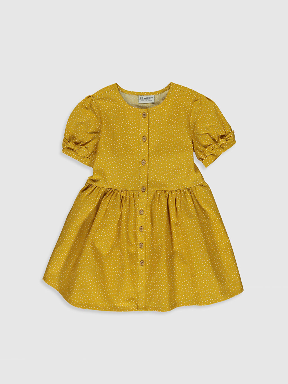 Sarı Kız Çocuk Puantiyeli Pamuklu Elbise 0S6229Z4 LC Waikiki