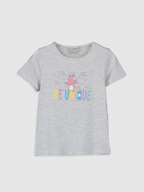 Gri Kız Çocuk Unicorn Baskılı Pamuklu Tişört 0S6246Z4 LC Waikiki