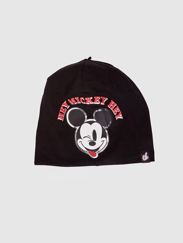 Siyah Erkek Çocuk Mickey Mouse Baskılı Triko Bere 0S6295Z4 LC Waikiki