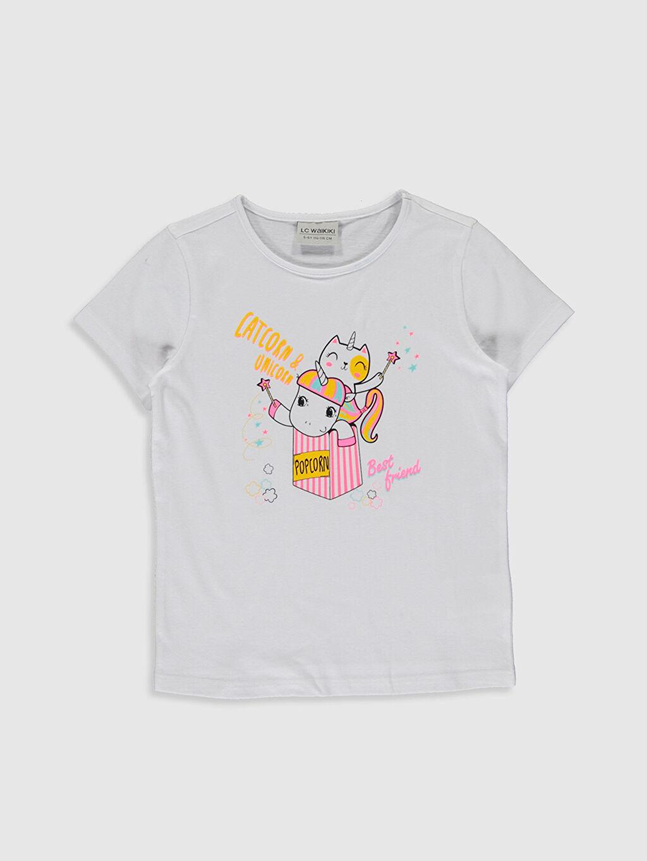 Beyaz Kız Çocuk Baskılı Pamuklu Tişört 0S6552Z4 LC Waikiki