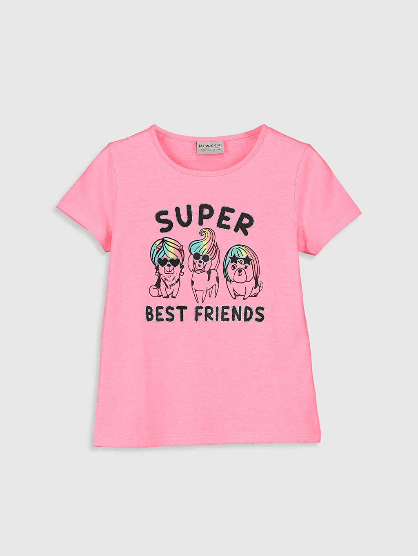 Pembe Kız Çocuk Baskılı Pamuklu Tişört 0S6563Z4 LC Waikiki