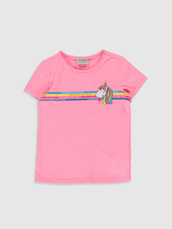 Pembe Kız Çocuk Unicorn Baskılı Tişört 0S6569Z4 LC Waikiki