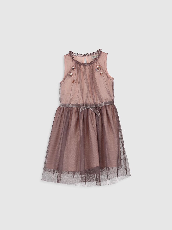 Mor Kız Çocuk Pul İşlemeli Tüllü Elbise 0S6620Z4 LC Waikiki