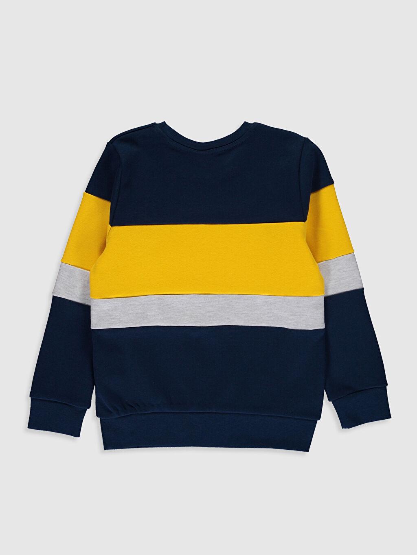 %100 Pamuk Çizgili Dar Bisiklet Yaka Tişört Uzun Kol Erkek Çocuk Renk Bloklu Pamuklu Tişört
