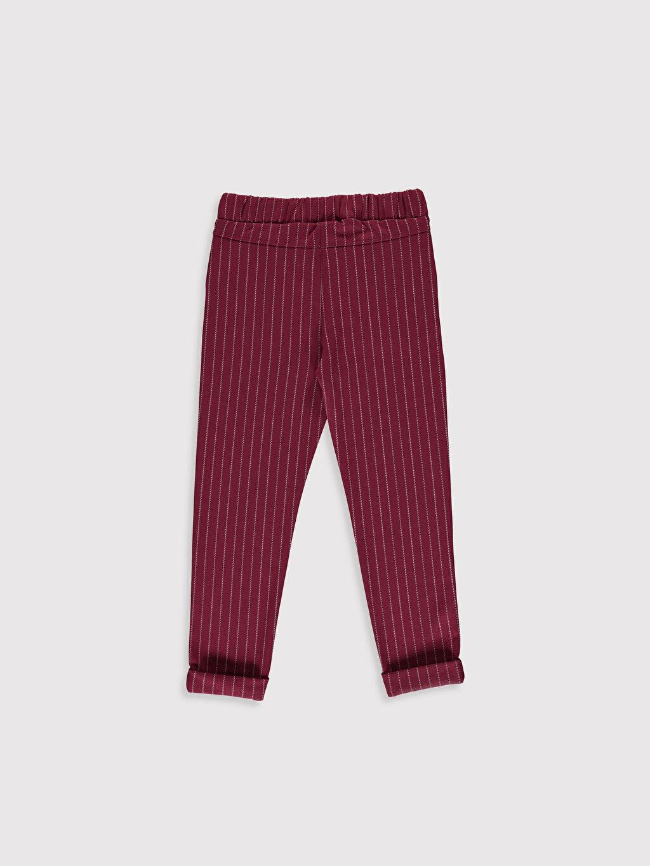 %67 Polyester %32 Viskoz %1 Elastan Normal Bel Standart Kız Çocuk Çizgili Pantolon