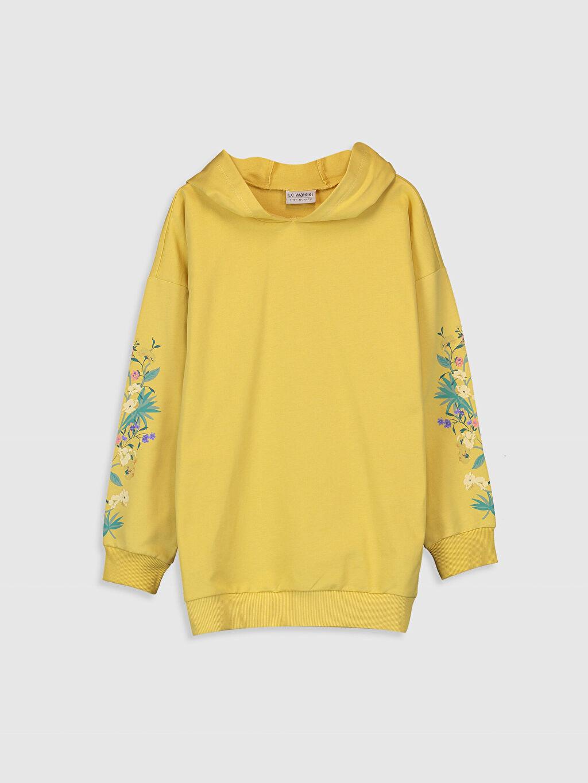 Sarı Kız Çocuk Çiçek Baskılı Kapüşonlu Sweatshirt 0S6649Z4 LC Waikiki
