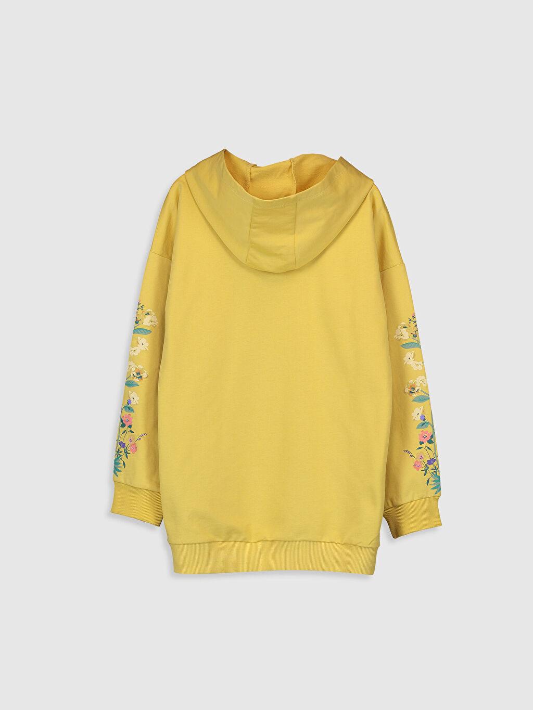 %84 Pamuk %16 Polyester  Kız Çocuk Çiçek Baskılı Kapüşonlu Sweatshirt