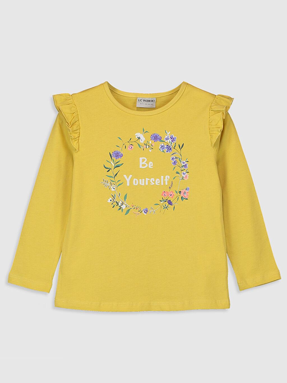 Sarı Kız Çocuk Baskılı Fırfırlı Tişört 0S6650Z4 LC Waikiki