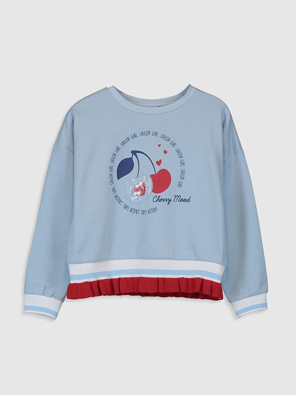 Mavi Kız Çocuk Baskılı Sweatshirt 0S6664Z4 LC Waikiki