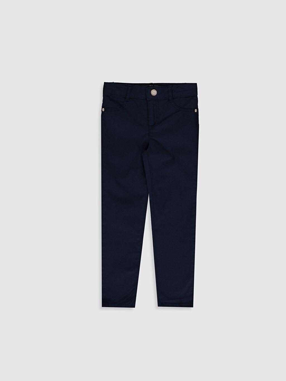Lacivert Kız Çocuk Skinny Gabardin Pantolon 0S6672Z4 LC Waikiki