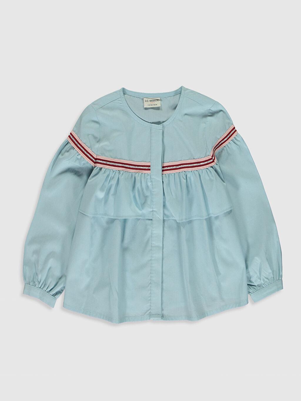 Mavi Kız Çocuk Volan Detaylı Poplin Gömlek 0S6689Z4 LC Waikiki