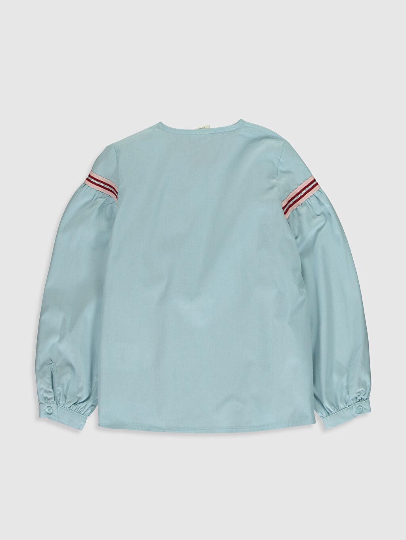 %100 Pamuk  Kız Çocuk Volan Detaylı Poplin Gömlek