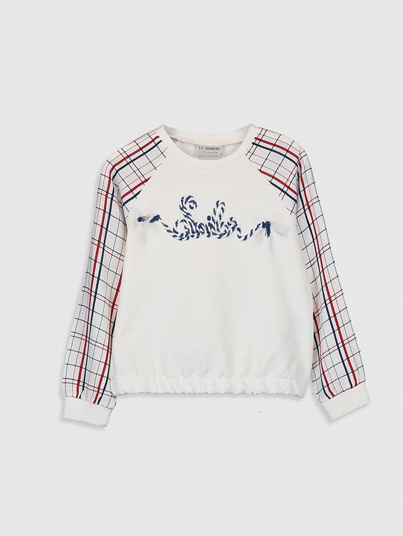 Ekru Kız Çocuk Nakışlı Sweatshirt 0S6691Z4 LC Waikiki