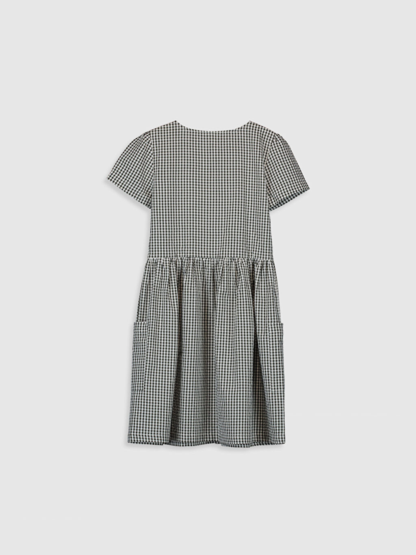 %100 Pamuk Diz Üstü Ekoseli Kız Çocuk Ekose Elbise