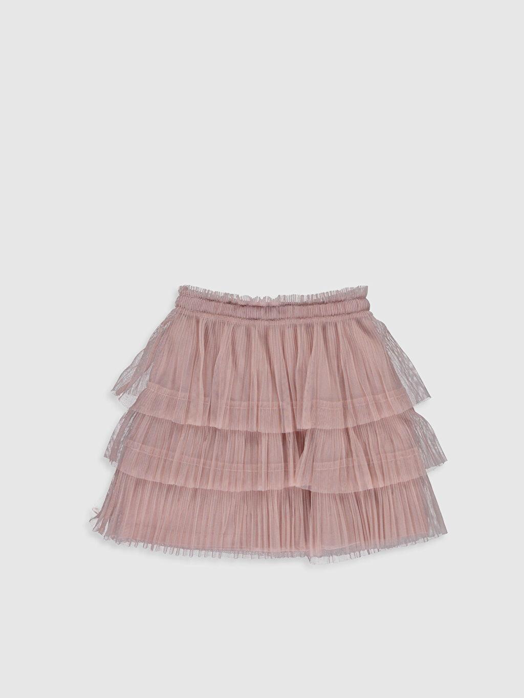 %100 Polyester %100 Pamuk Diz Üstü Düz Kız Çocuk Fırfırlı Tüllü Etek