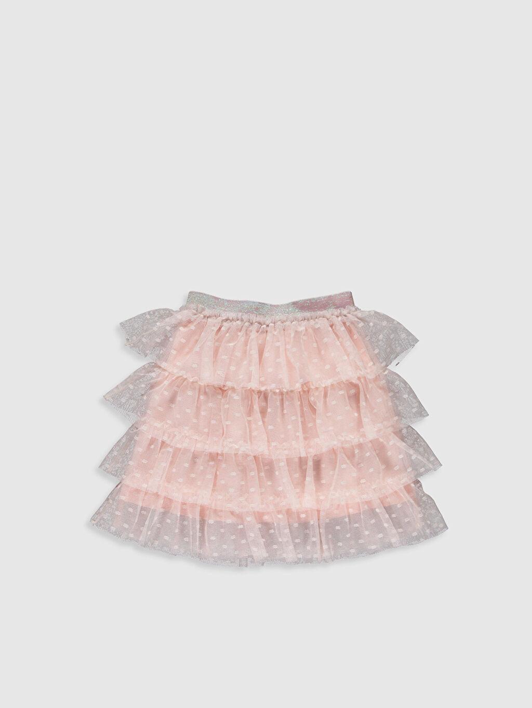 %100 Polyester %100 Pamuk Diz Üstü Düz Kız Çocuk Fırfırlı Tütü Etek