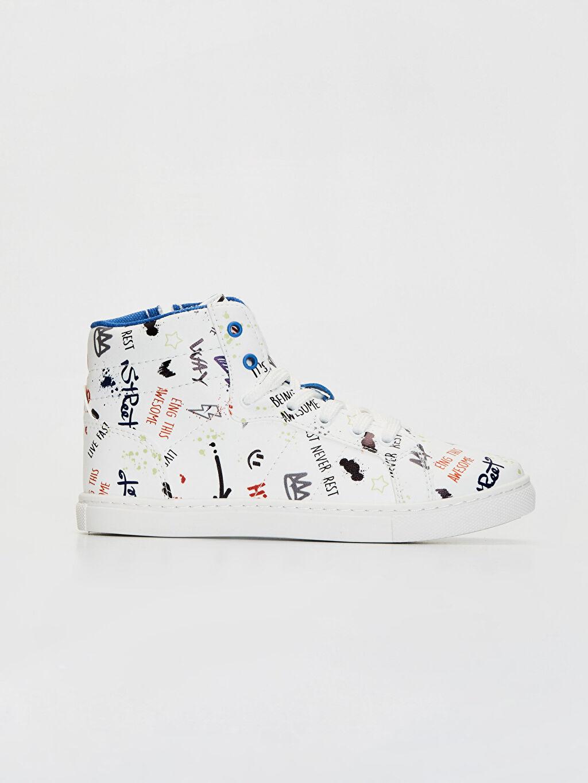 Beyaz Erkek Çocuk Baskılı Günlük Bilekli Ayakkabı 0S6749Z4 LC Waikiki