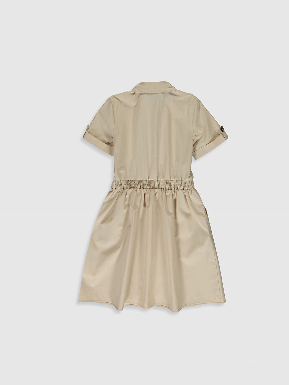 %100 Pamuk Diz Üstü Düz Kız Çocuk Gömlek Elbise