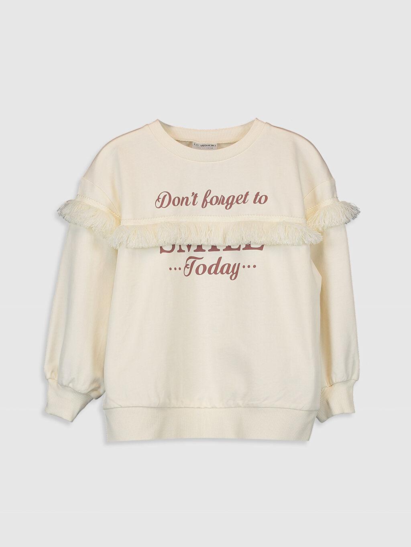 Ekru Kız Çocuk Yazı Baskılı Sweatshirt 0S6922Z4 LC Waikiki