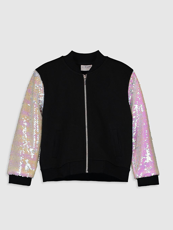 Siyah Kız Çocuk Kolları Payetli Fermuarlı Sweatshirt 0S6967Z4 LC Waikiki