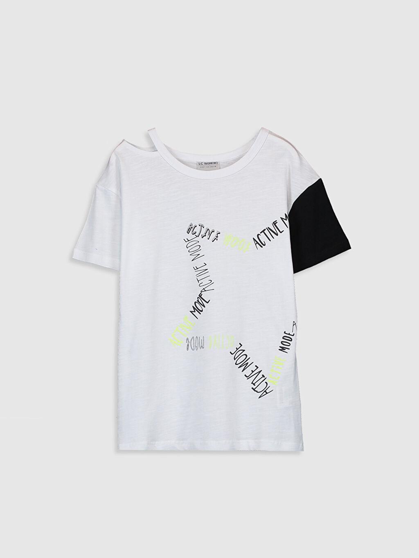 Beyaz Kız Çocuk Baskılı Pamuklu Tişört 0S6986Z4 LC Waikiki