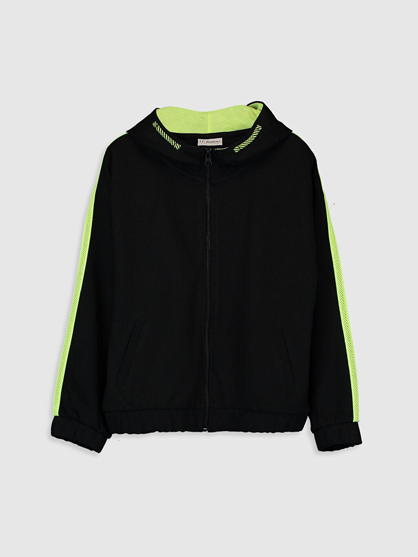 Siyah Kız Çocuk Fermuarlı Kapüşonlu Sweatshirt 0S6987Z4 LC Waikiki