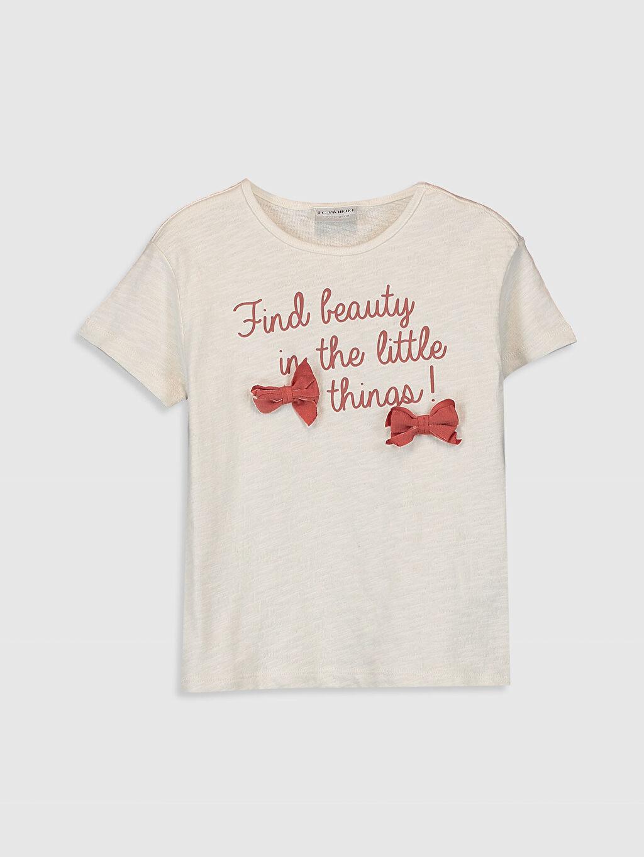 Bej Kız Çocuk Baskılı Pamuklu Tişört 0S7002Z4 LC Waikiki