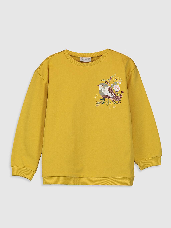 Sarı Kız Çocuk Baskılı Sweatshirt 0S7003Z4 LC Waikiki