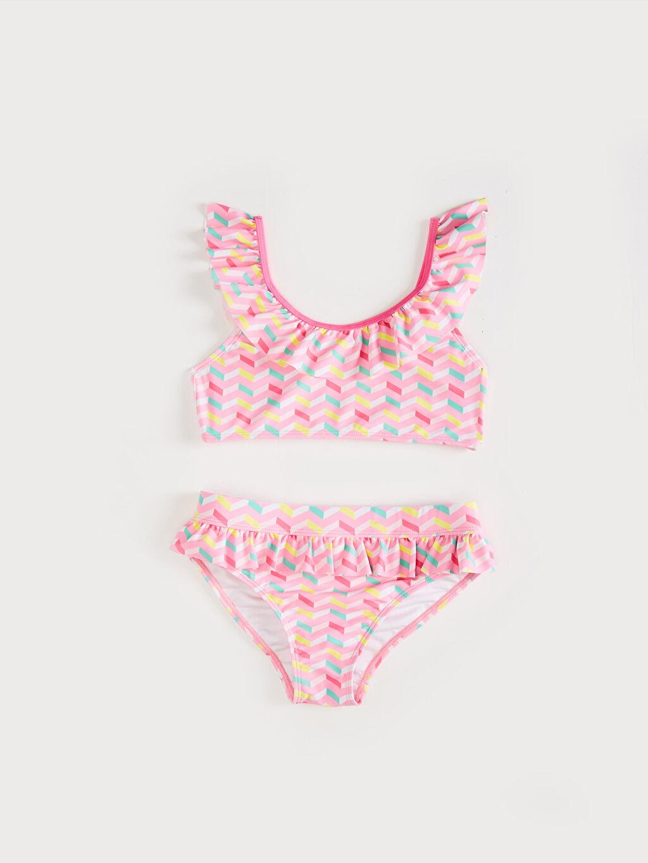 %80 Polyester %20 Elastan %90 Polyester %10 Elastan  Kız Çocuk Fırfırlı Bikini