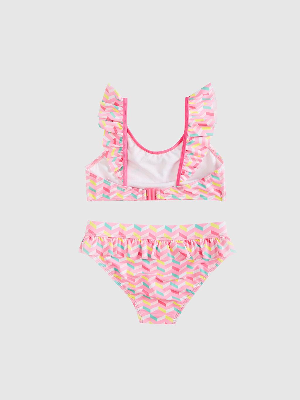 %80 Polyester %20 Elastan Kız Çocuk Fırfırlı Bikini