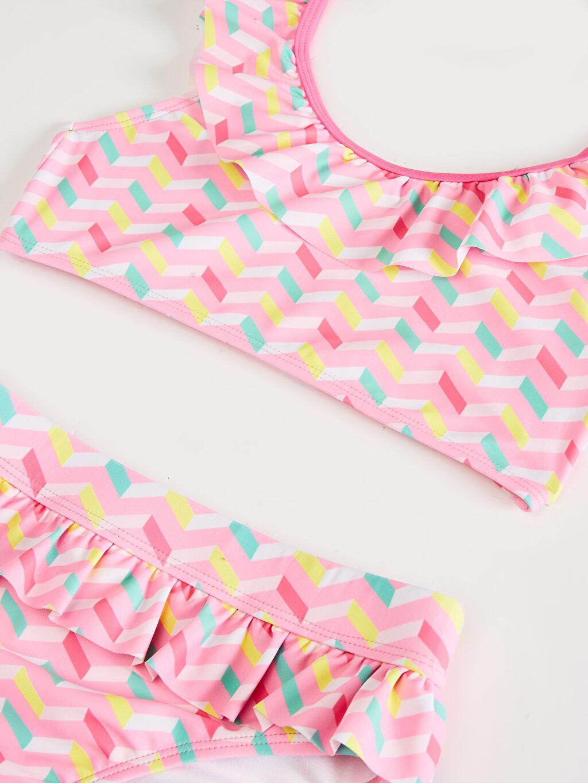 Pembe Kız Çocuk Fırfırlı Bikini