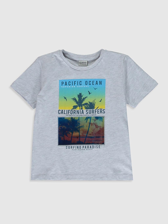 Gri Erkek Çocuk Baskılı Pamuklu Tişört 0S7260Z4 LC Waikiki