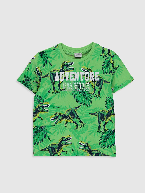 Yeşil Erkek Çocuk Baskılı Pamuklu Tişört 0S7276Z4 LC Waikiki