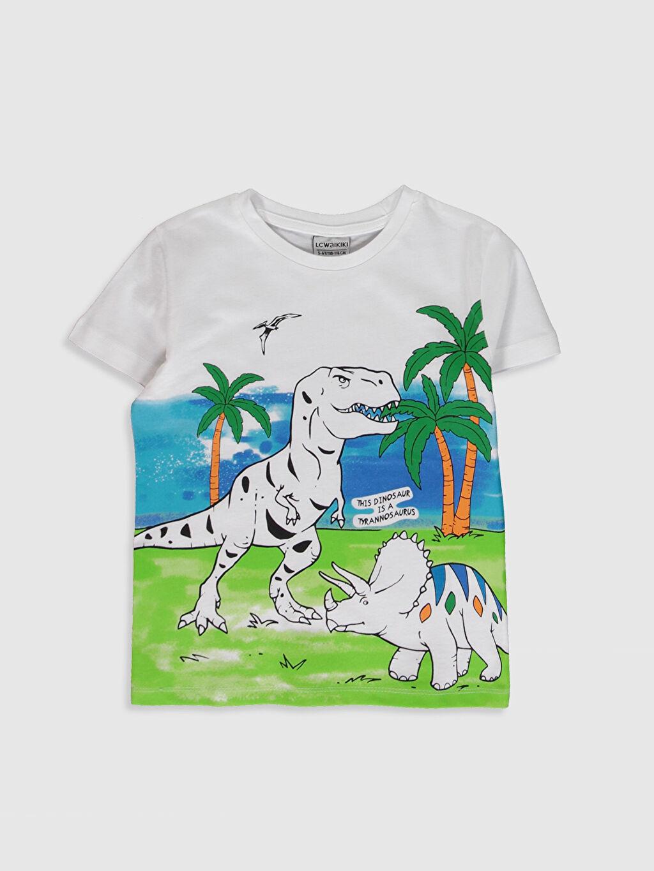 Beyaz Erkek Çocuk Baskılı Pamuklu Tişört 0S7277Z4 LC Waikiki