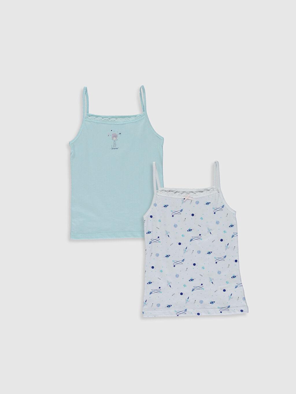 Mavi Kız Çocuk Pamuklu Atlet 2'li 0S7330Z4 LC Waikiki