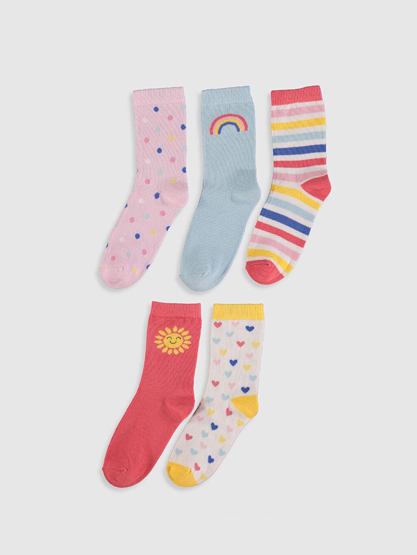 %68 Pamuk %30 Poliamid %2 Elastan  Kız Çocuk Soket Çorap 5'li