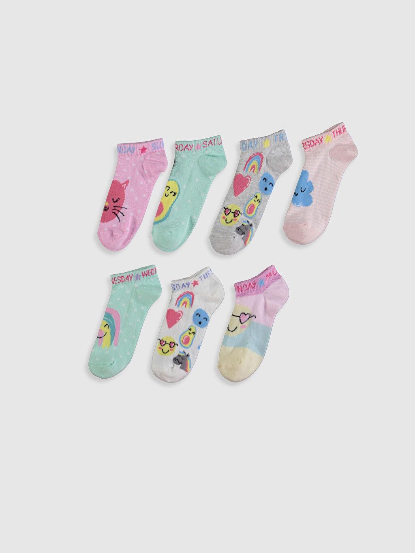 %70 Pamuk %28 Poliamid %2 Elastan  Kız Çocuk Patik Çorap 7'li