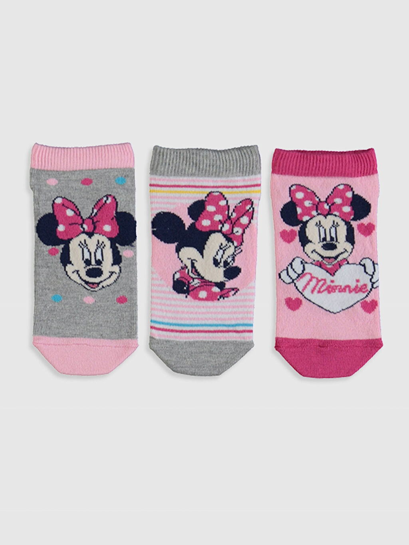 %57 Pamuk %12 Polyester %29 Poliamid %2 Elastan  Kız Çocuk Minnie Mouse Patik Çorap 3'lü