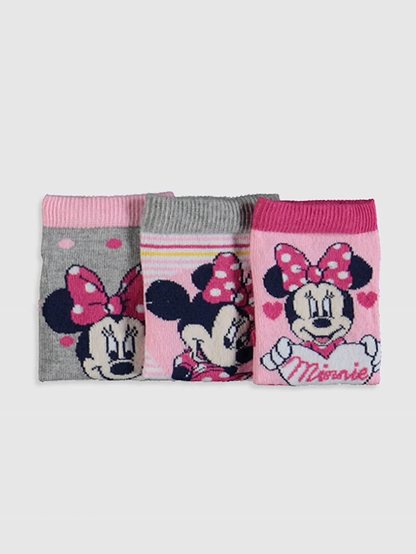 Kız Çocuk Kız Çocuk Minnie Mouse Patik Çorap 3'lü